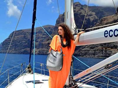 """Caftán naranja y beach bag """"playa de La Arena"""""""