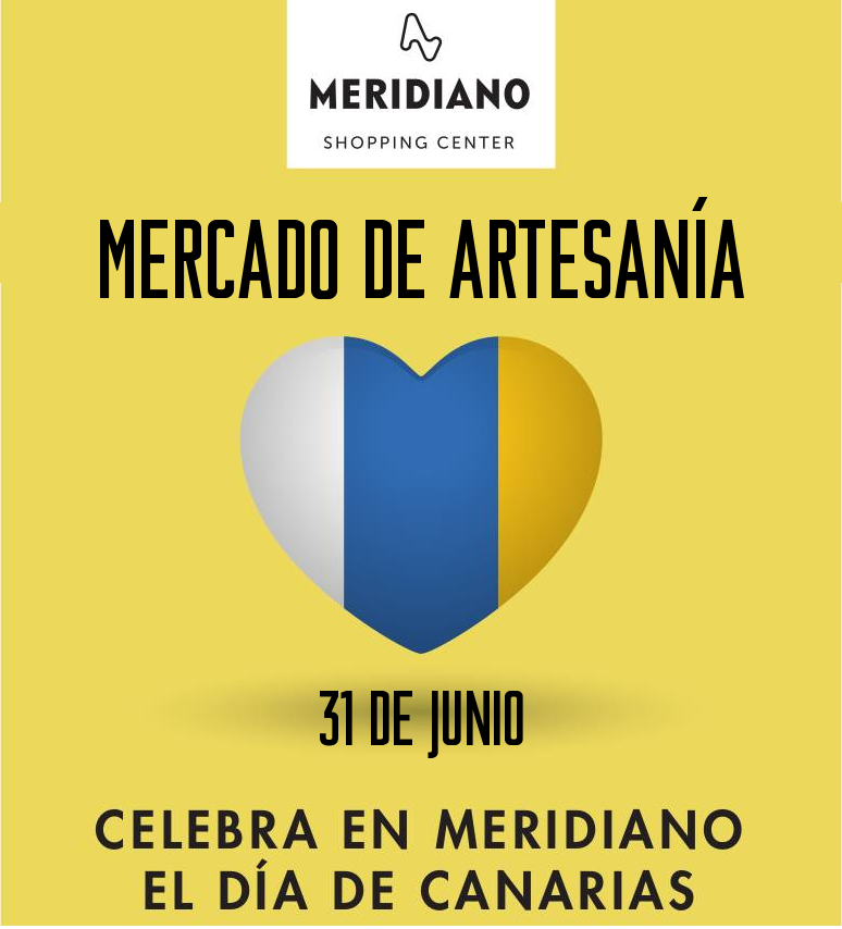 Cartel anunciador del mercado de artesanía en el centro comercial Meridiano de Santa Cruz de Tenerife para el 31 de mayo de 2019