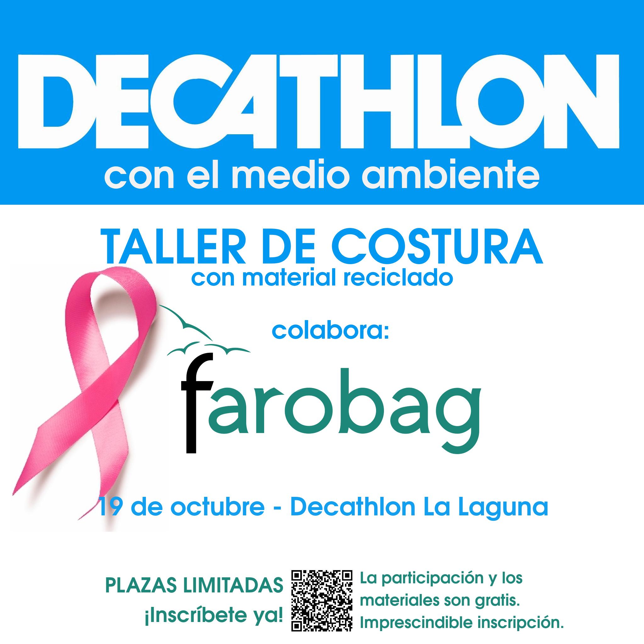cartel o póster anuncio del taller de costura en Decathlon con fecha y lugar donde se celebra