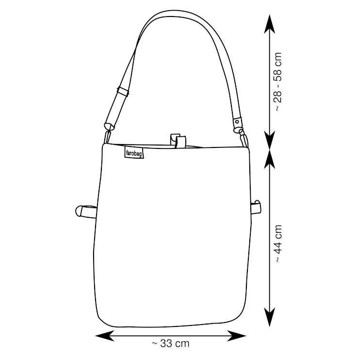 Diagrama de un tote bag de 3 posiciones de Farobag