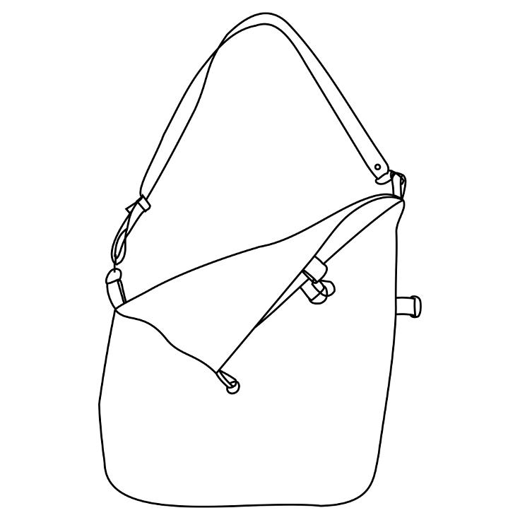 Diagrama del totebag de 3 posiciones de Farobag von el asa anclada en diagonal