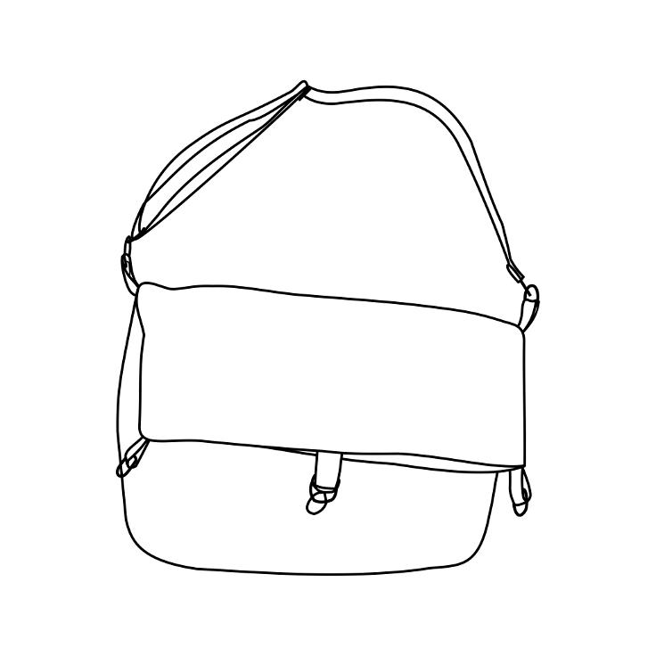 Diagrama del tote bag de tela de Farobag en posición doblada