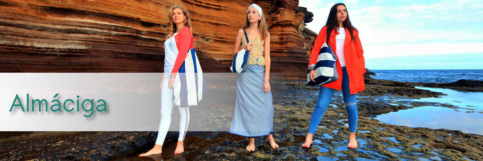 Modelos con bolsos de tela de la serie Almáciga de Farobag