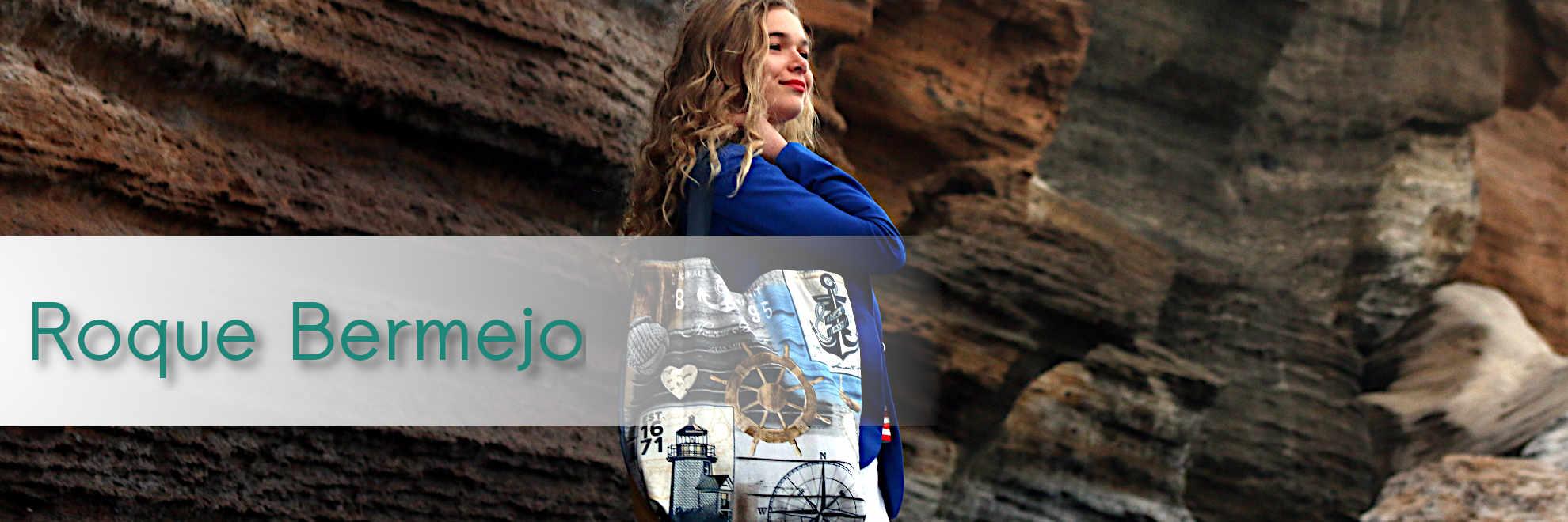 Modelos con bolsos de tela de la serie Roque Bermejo de Farobag