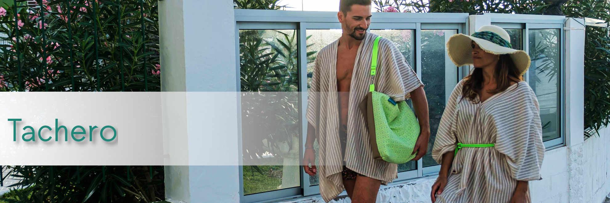 Modelos con bolsos de tela de la serie Tachero de Farobag