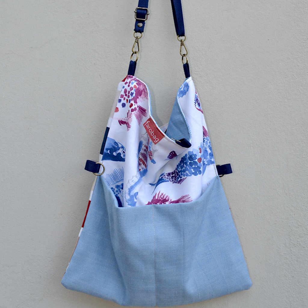 Totebag bolso de compra con dos grandes bolsillos serie Alba colección verano 2021