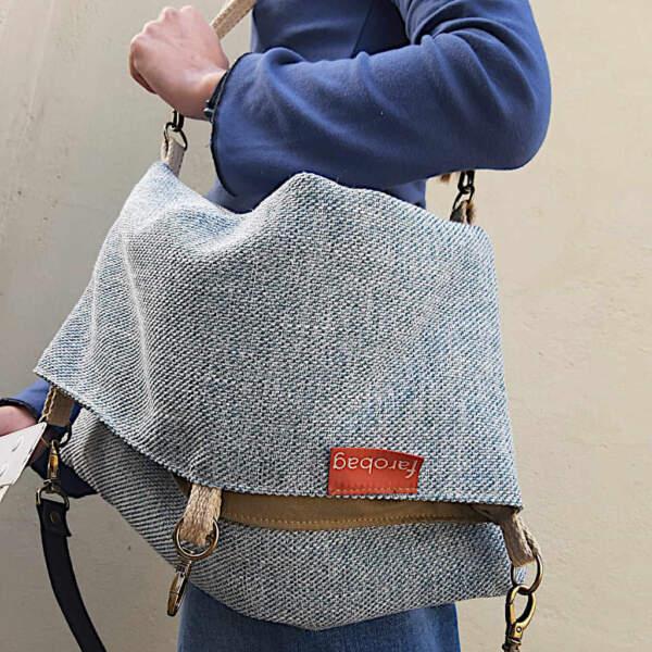 bolso de tela modelo tote bag de tres posiciones