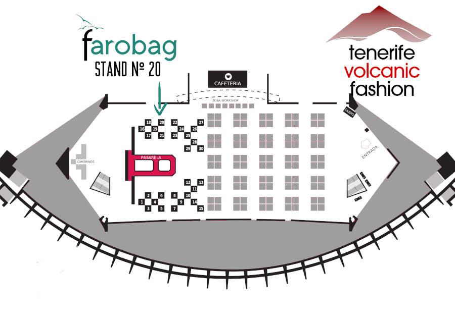 Plano de la nave del recinto ferial de Tenerife con los puestos y marcado el de Farobag